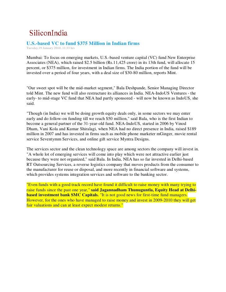 Silicon india 19 jan 2010 u s -based vc to fund $375 million