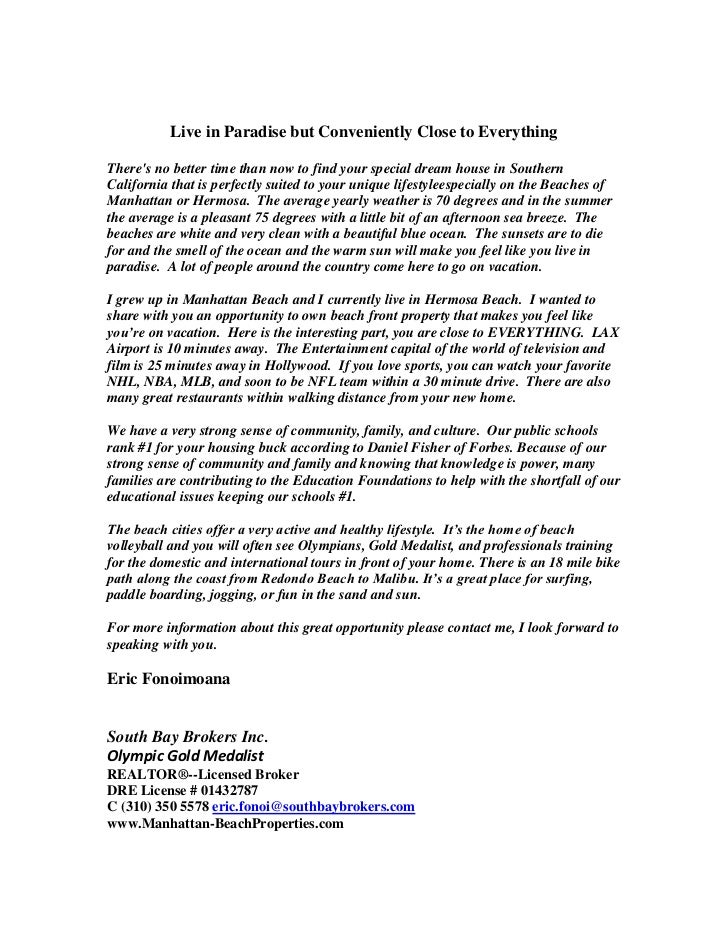 Real Estate Letter To Buyers
