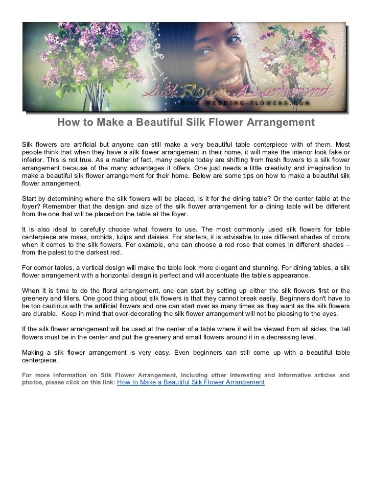 How To Make A Beautiful Silk Flower Arrangement