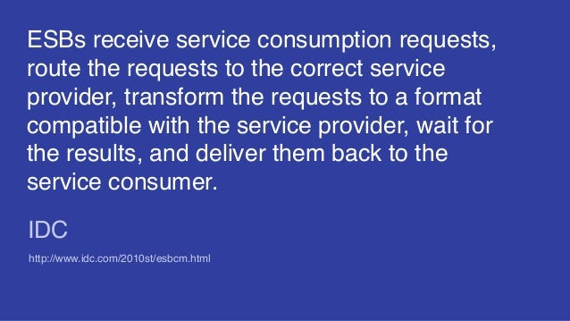 ESBs receive service consumption requests, route the requests to the correct service provider, transform the requests to a...