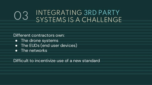 INTEGRATING 3RD PARTY SYSTEMS IS A CHALLENGE Different contractors own: ● The drone systems ● The EUDs (end user devices) ...