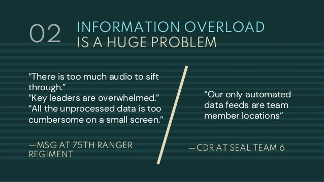 """INFORMATION OVERLOAD IS A HUGE PROBLEM —MSG AT 75TH RANGER REGIMENT """"There is too much audio to sift through."""" """"Key leader..."""