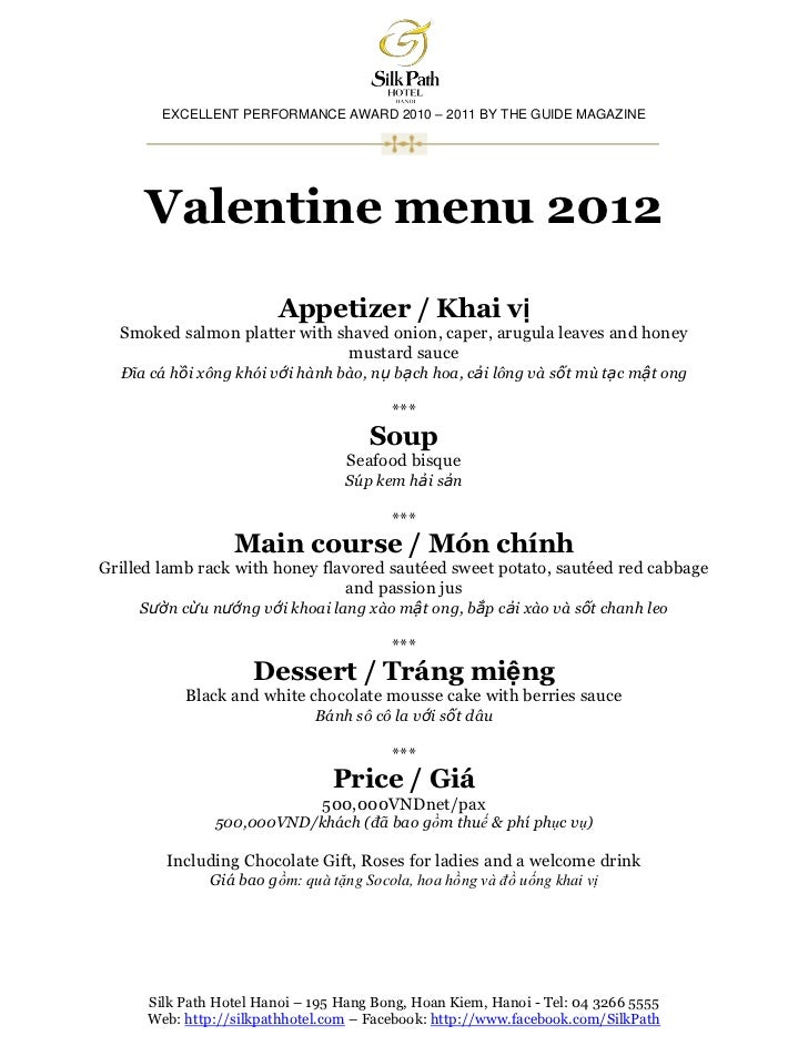 EXCELLENT PERFORMANCE AWARD 2010 – 2011 BY THE GUIDE MAGAZINE      Valentine menu 2012                         Appetizer /...