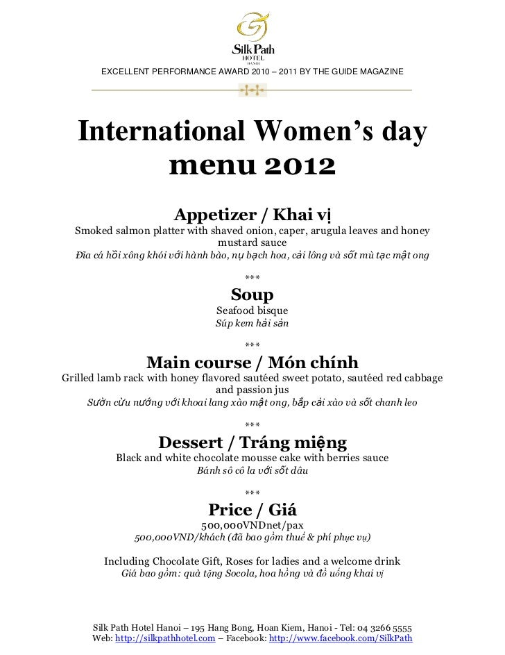 EXCELLENT PERFORMANCE AWARD 2010 – 2011 BY THE GUIDE MAGAZINE   International Women's day          menu 2012              ...