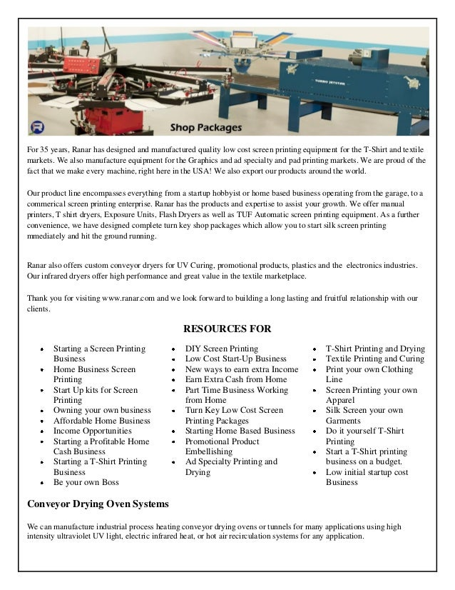 For 35 Years Ranar Has Designed And Manufactured Quality Low Cost Screen Printing Equipment
