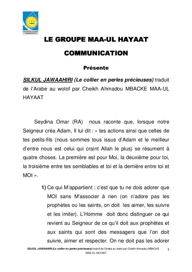 MAA-               LE GROUPE MAA-UL HAYAAT                               COMMUNICATION                                    ...
