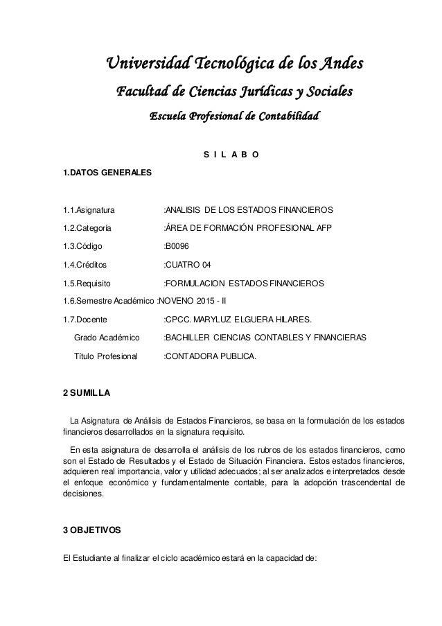 Universidad Tecnológica de los Andes Facultad de Ciencias Jurídicas y Sociales Escuela Profesional de Contabilidad S I L A...