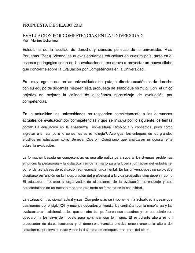 PROPUESTA DE SILABO 2013 EVALUACION POR COMPETENCIAS EN LA UNIVERSIDAD. Por: Marino Ucharima Estudiante de la facultad de ...
