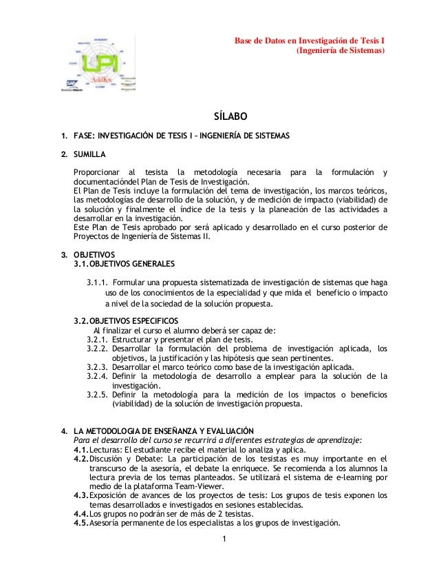 Base de Datos en Investigación de Tesis I (Ingeniería de Sistemas)  SÍLABO 1. FASE: INVESTIGACIÓN DE TESIS I – INGENIERÍA ...