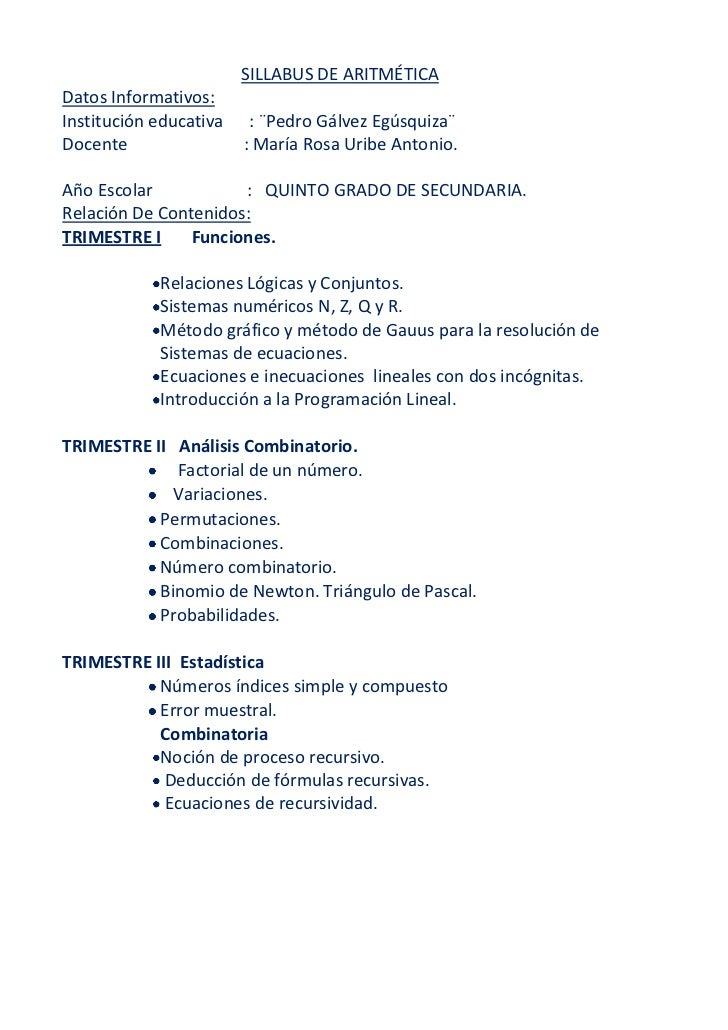 SILLABUS DE ARITMÉTICADatos Informativos:Institución educativa    : ¨Pedro Gálvez Egúsquiza¨Docente                 : Marí...