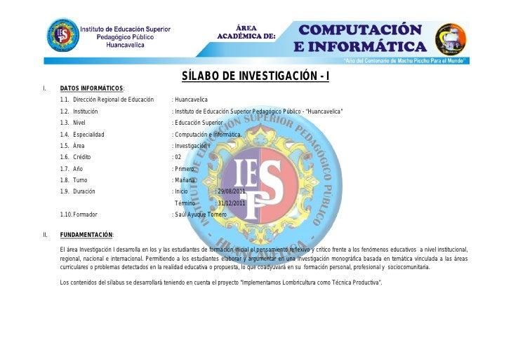 SÍLABO DE INVESTIGACIÓN - II.    DATOS INFORMÁTICOS:      1.1. Dirección Regional de Educación           : Huancavelica   ...