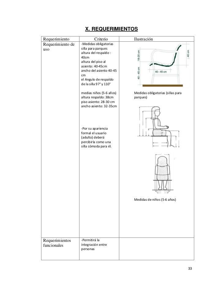 Silla para parques investigacion for Medidas sillas ninos