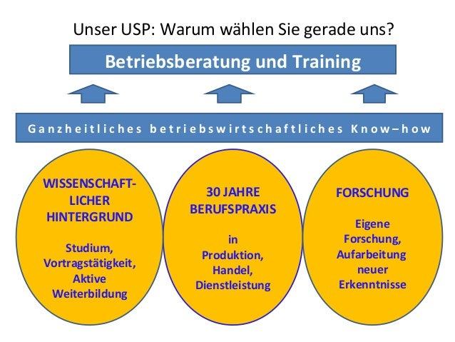 Unser USP: Warum wählen Sie gerade uns?            Betriebsberatung und Training  aGanzheitliches betriebswirtschaftliches...