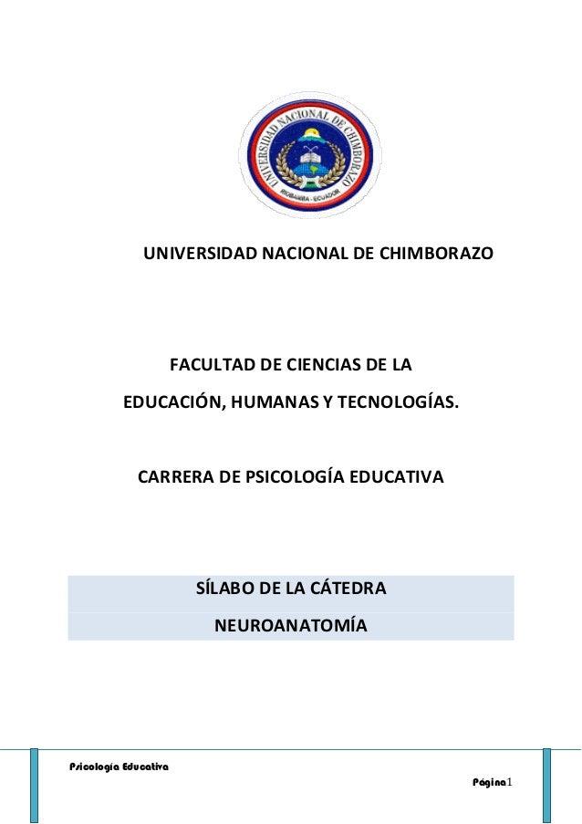 Psicología Educativa Página1 UNIVERSIDAD NACIONAL DE CHIMBORAZO FACULTAD DE CIENCIAS DE LA EDUCACIÓN, HUMANAS Y TECNOLOGÍA...
