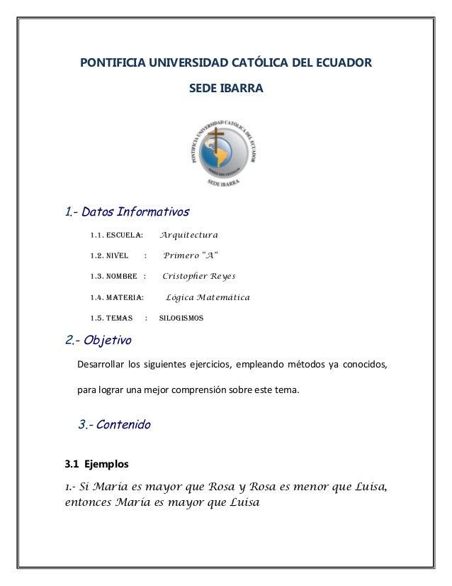 PONTIFICIA UNIVERSIDAD CATÓLICA DEL ECUADOR SEDE IBARRA 1.- Datos Informativos 1.1. ESCUELA: Arquitectura 1.2. NIVEL : Pri...