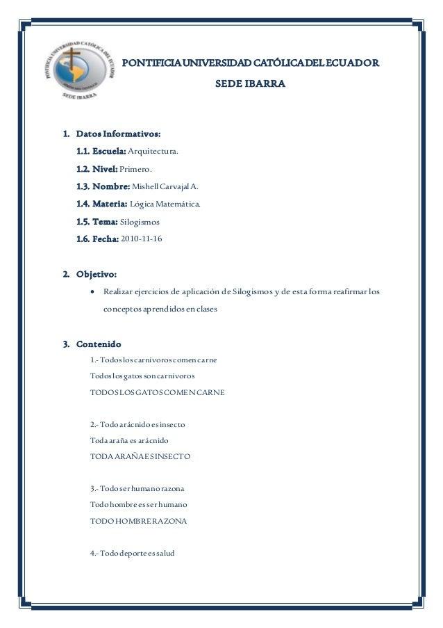 PONTIFICIAUNIVERSIDAD CATÓLICADELECUADOR SEDE IBARRA 1. Datos Informativos: 1.1. Escuela: Arquitectura. 1.2. Nivel: Primer...