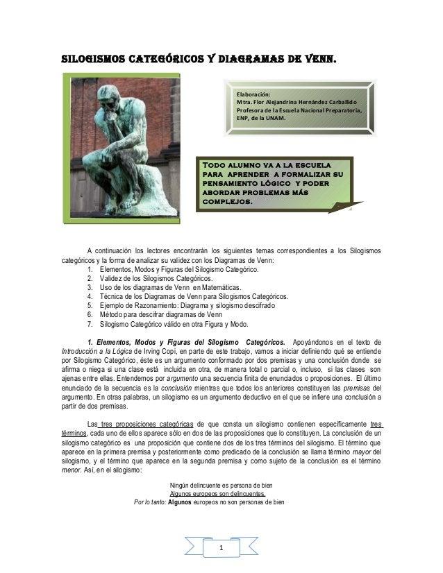 SILOGISMOS CATEGÓRICOS Y DIAGRAMAS DE vEnn.                                                            Elaboración:       ...