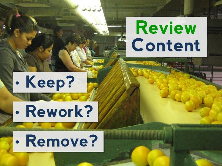 Review              Content•   Keep?•   Rework?•   Remove?