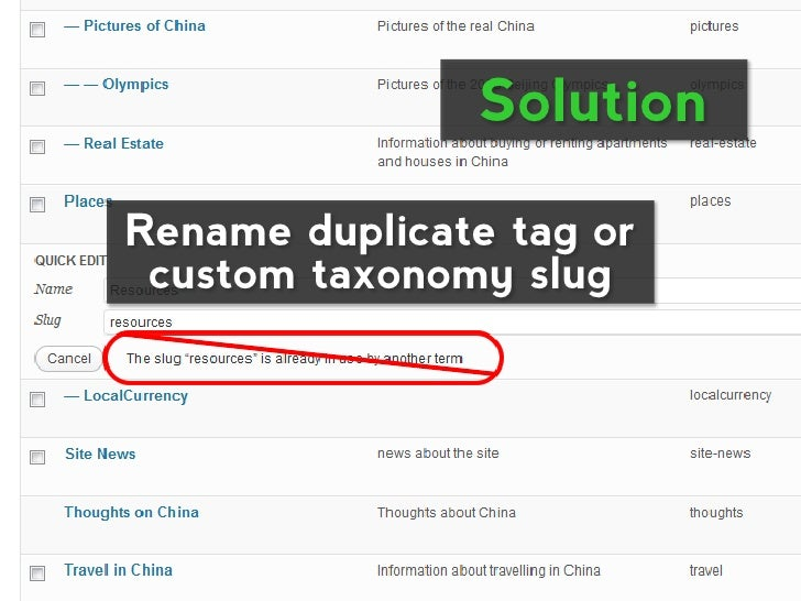 SolutionRename duplicate tag or custom taxonomy slug