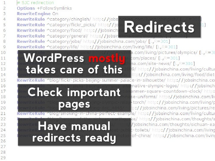 RedirectsWordPress mostlytakes care of thisCheck important    pages  Have manual redirects ready
