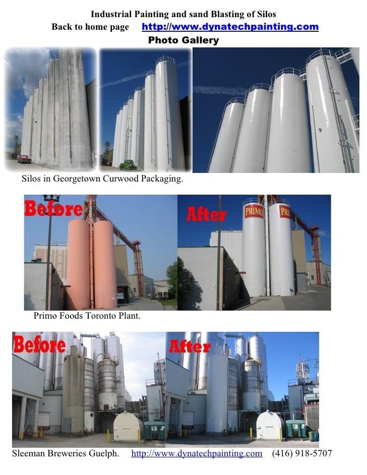 Industrial Painting and sand Blasting of Silos          Back to home page http://www.dynatechpainting.com                 ...