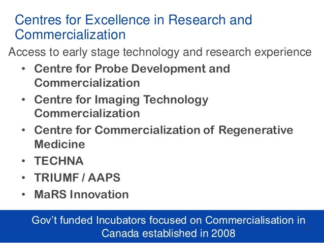 Centres for Excellence in Research and Commercialization Access to early stage technology and research experience • Centre...