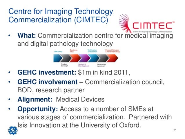 Centre for Imaging Technology Commercialization (CIMTEC) • What: Commercialization centre for medical imaging and digital ...