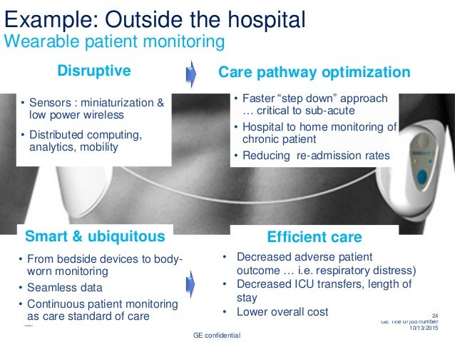 """GE confidential 24 GE Title or job number 10/13/2015 Example: Outside the hospital Wearable patient monitoring • Faster """"s..."""