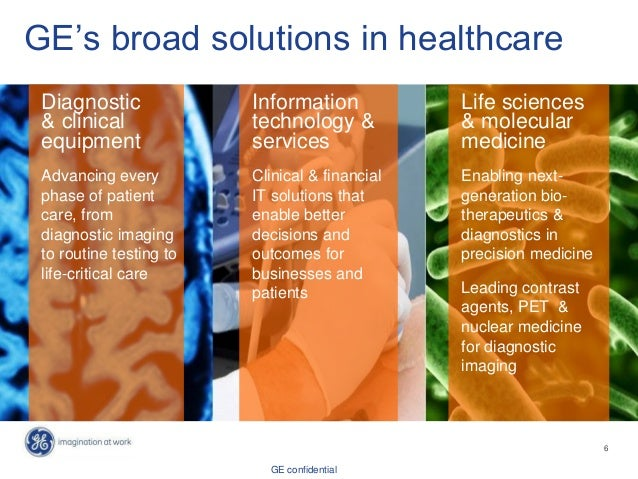GE confidential GE's broad solutions in healthcare Diagnostic & clinical equipment Advancing every phase of patient care, ...