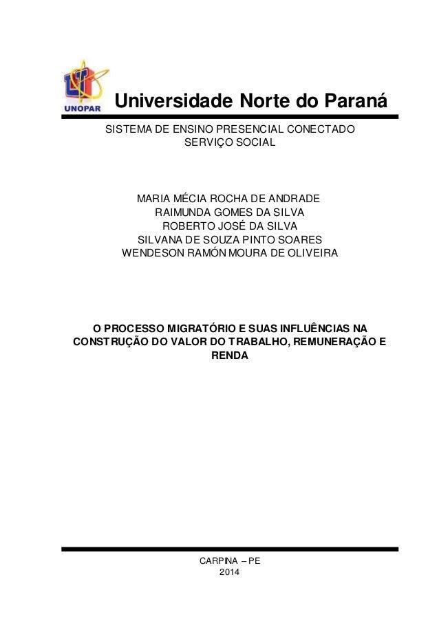 Universidade Norte do Paraná  SISTEMA DE ENSINO PRESENCIAL CONECTADO  SERVIÇO SOCIAL  MARIA MÉCIA ROCHA DE ANDRADE  RAIMUN...