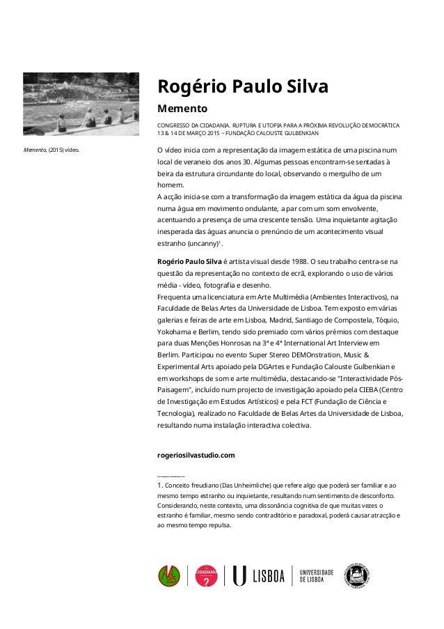 Rogério Paulo Silva Memento CONGRESSO DA CIDADANIA. RUPTURA E UTOPIA PARA A PRÓXIMA REVOLUÇÃO DEMOCRÁTICA 13 & 14 DE MARÇ...