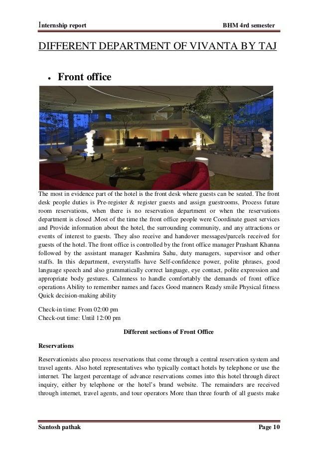 Internship report front desk