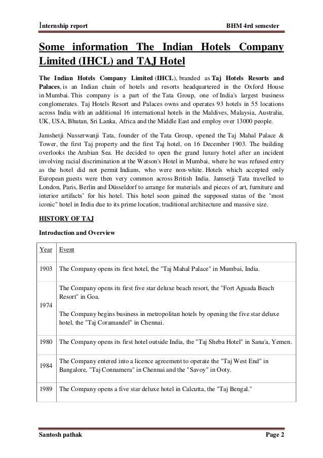 Internship report hotel management