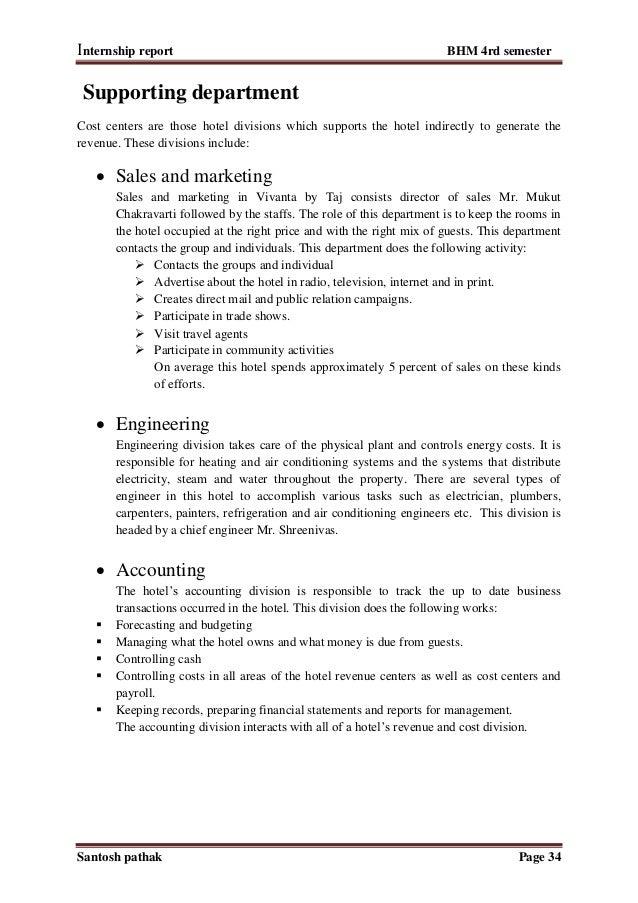 internship report sales department