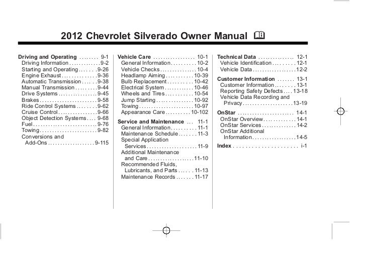 2012 chevrolet silverado owners manual chevrolet silverado owner manual publicscrutiny Image collections
