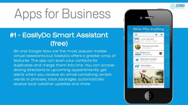 #1 - EasilyDo Smart Assistant (free) Siri and Google Now are the most popular mobile virtual assistants but EasilyDo offer...