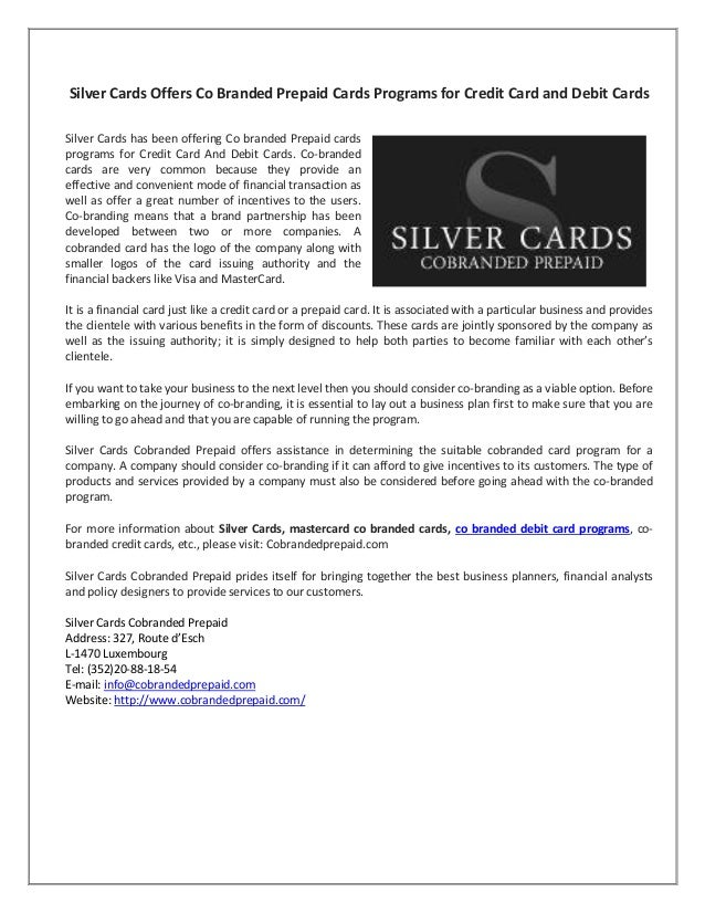 Silver Cards Offers Co branded Prepaid cards programs for Credit Card…