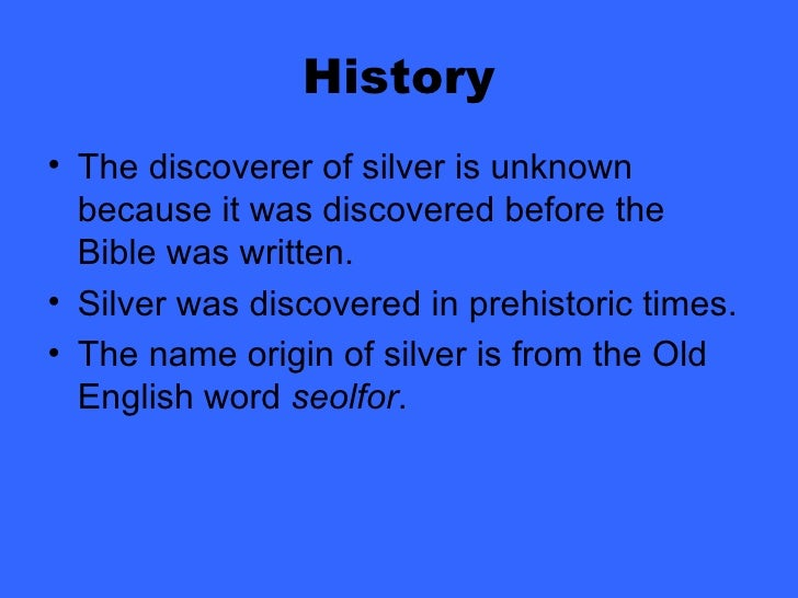 Chemical Properties Element Silver