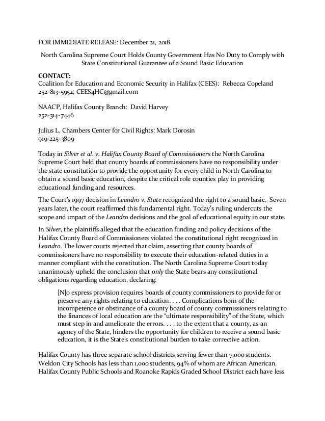 Halifax Supreme Court press release from plaintiffs