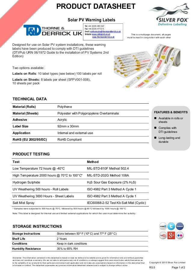Silver Fox Solar Panel Warning Labels Solar Pv System