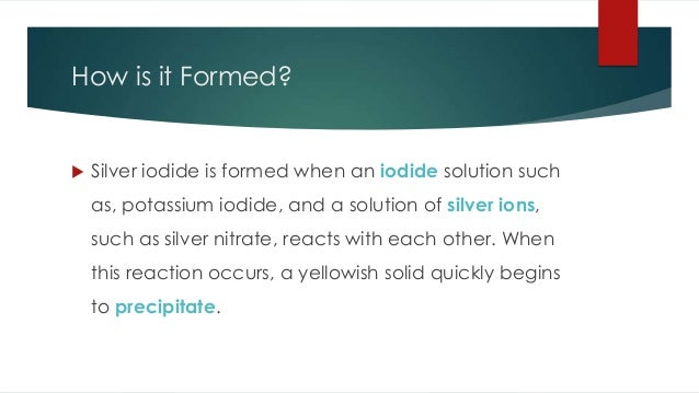 silver iodide Silver iodate is a white crystal composed of silver, iodine and oxygen unlike most metal iodates, it is insoluble in water.