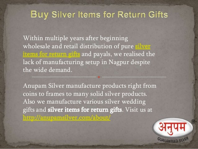 Silver items for return gift