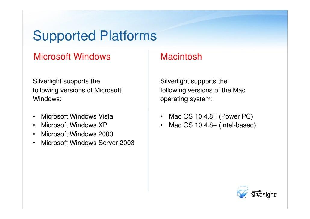 Versions of SilverlightSilverlight 1.0                         Silverlight 1.1 / 2.0• Create and manage 2D graphics       ...