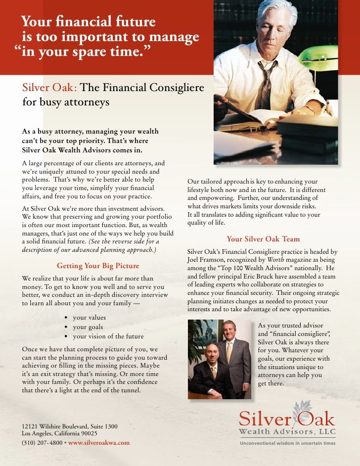 """Your financial future  is too important to manage """"in your spare time.""""   Silver Oak: The Financial Consigliere  for busy ..."""
