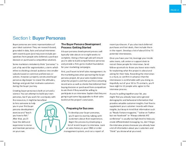 PAGE 4 Buyer personas are iconic representations of your ideal customer. They are research-based, grounded in data, facts ...