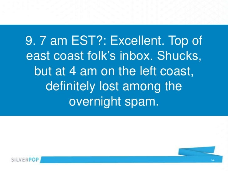 9. 7 am EST?: Excellent. Top ofeast coast folk's inbox. Shucks, but at 4 am on the left coast,    definitely lost among th...