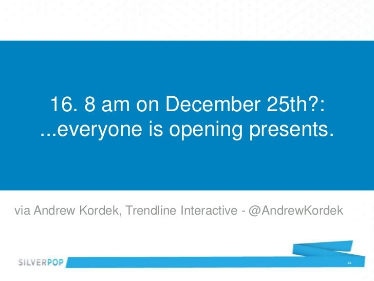16. 8 am on December 25th?:    ...everyone is opening presents.via Andrew Kordek, Trendline Interactive - @AndrewKordek   ...