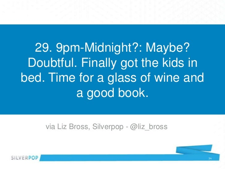 29. 9pm-Midnight?: Maybe? Doubtful. Finally got the kids inbed. Time for a glass of wine and          a good book.    via ...