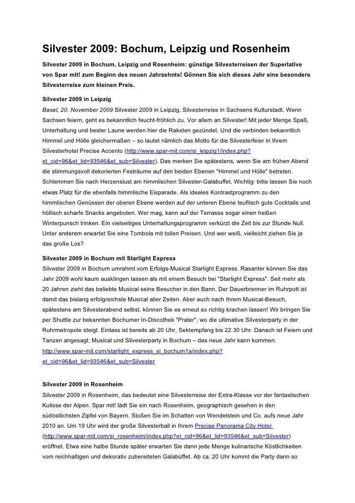 Silvester 2009: Bochum, Leipzig und RosenheimSilvester 2009 in Bochum, Leipzig und Rosenheim: günstige Silvesterreisen der...