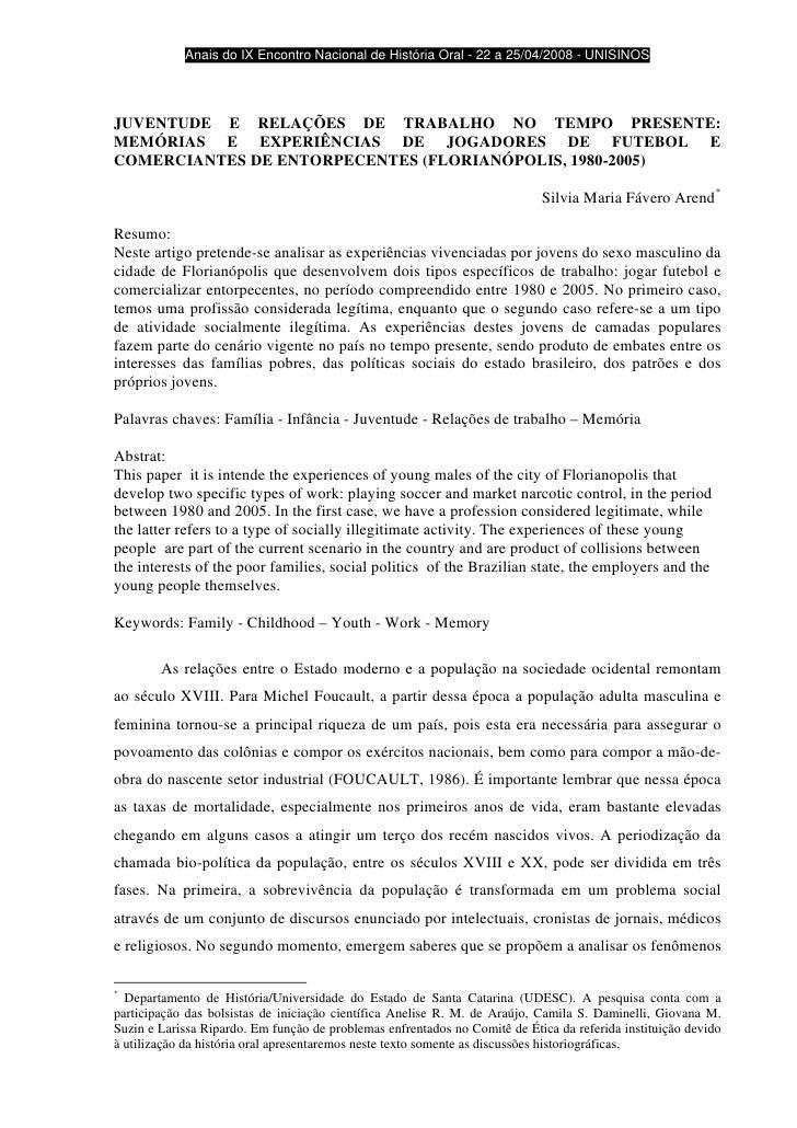 Anais do IX Encontro Nacional de História Oral - 22 a 25/04/2008 - UNISINOS     JUVENTUDE E RELAÇÕES DE TRABALHO NO TEMPO ...